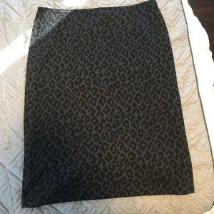 Grey and black leopard print pencil skirt